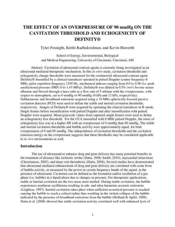 THE EFFECT OF AN OVERPRESSURE OF 90 mmHg ON THE   CAVITATION THRESHOLD AND ECHOGENICITY OF                    DEFINITY®   ...