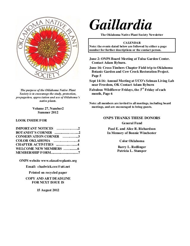 Gaillardia                                                           The Oklahoma Native Plant Society Newsletter         ...