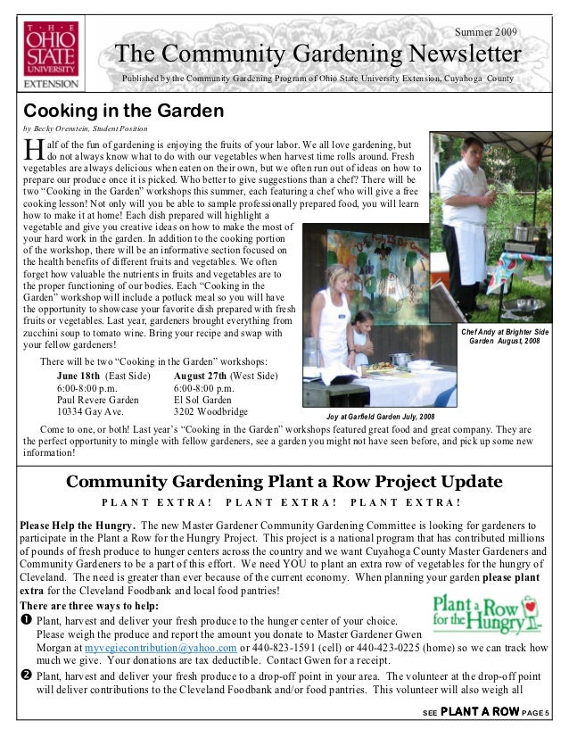 Summer 2009                          The Community Gardening Newsletter                            Published by the Commun...