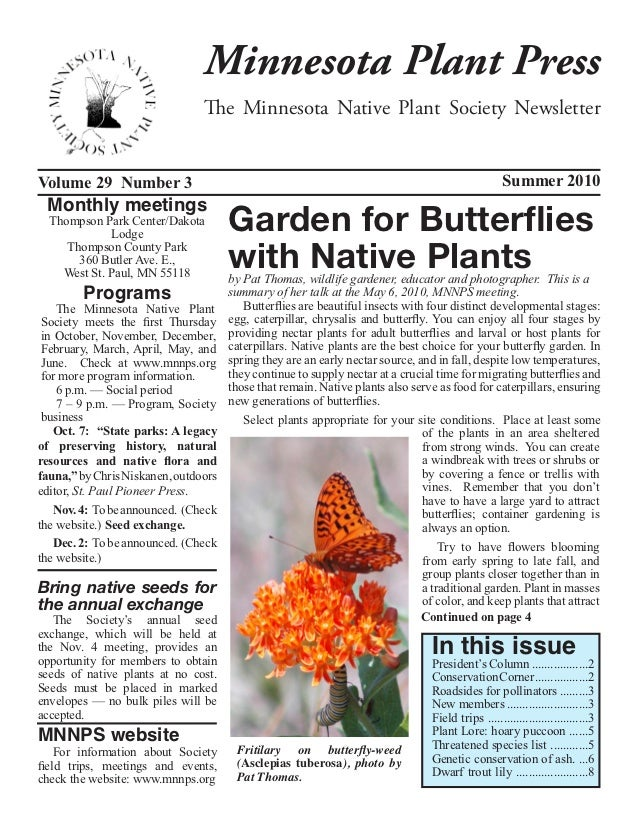 Minnesota Plant Press                                    The Minnesota Native Plant Society NewsletterVolume 29 Number 3  ...
