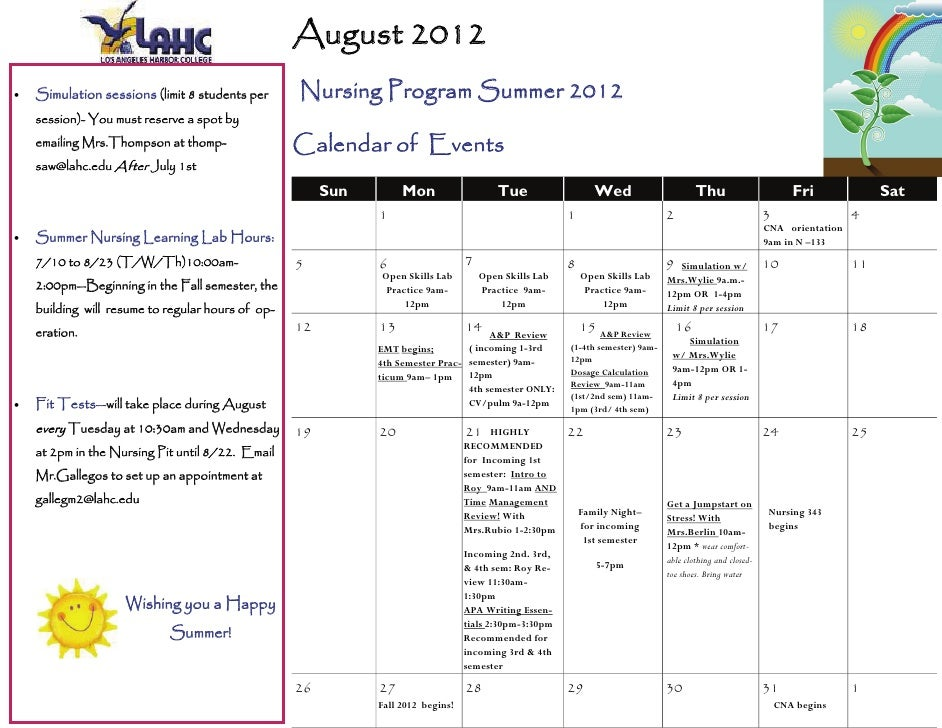 August 2012   Simulation sessions (limit 8 students per      Nursing Program Summer 2012     session)- You must reserve ...