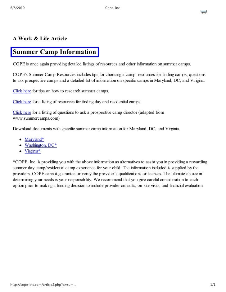 6/8/2010                                               Cope, Inc.      A Work & Life Article   Summer Camp Information  CO...