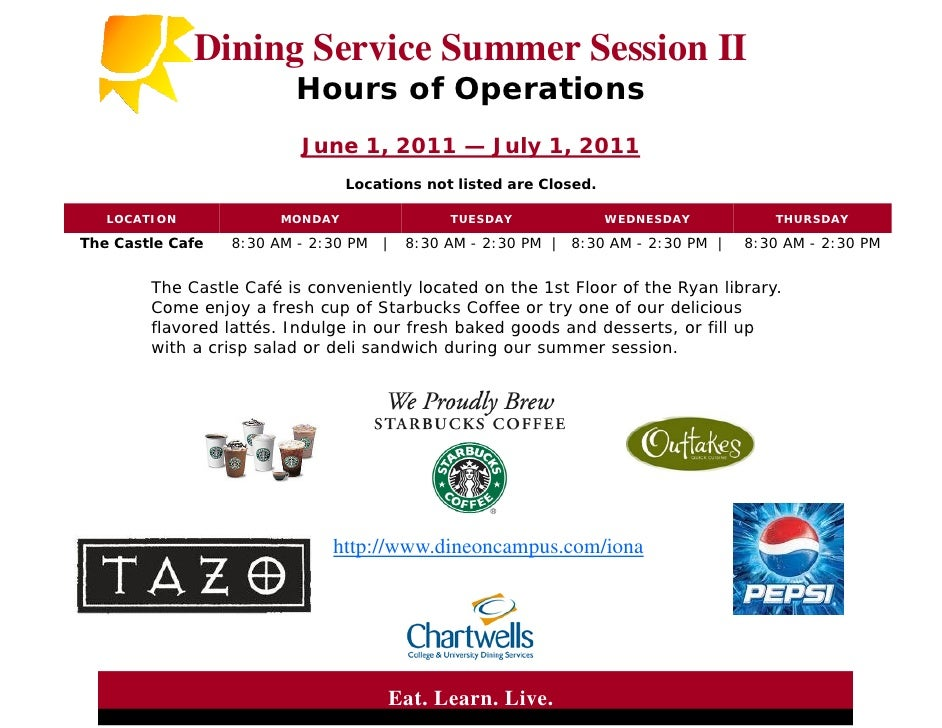 Dining Service Summer Session II                          Hours of Operations                          June 1, 2011 — July...