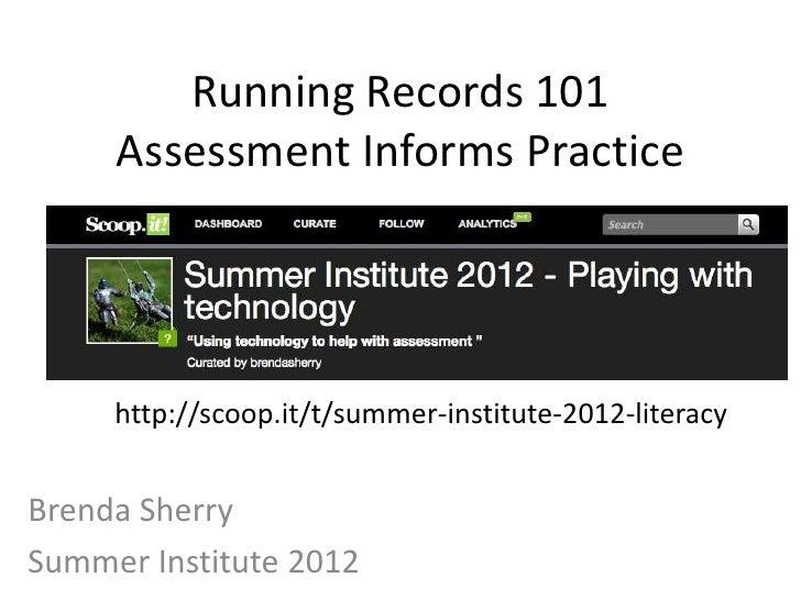 Summer institute 2012 Running Records