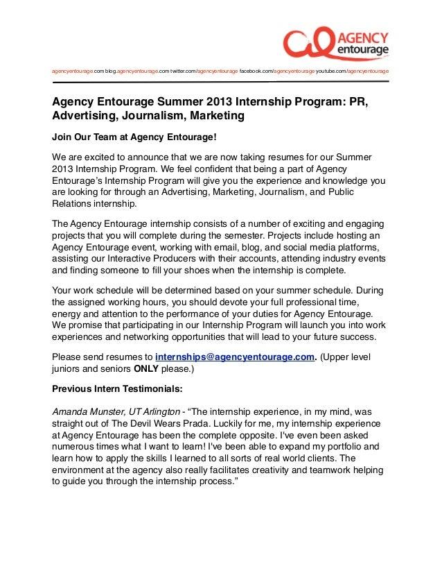 Digital Marketing Agency Internship Summer 2013: PR, Journ., Marketing, Advertising