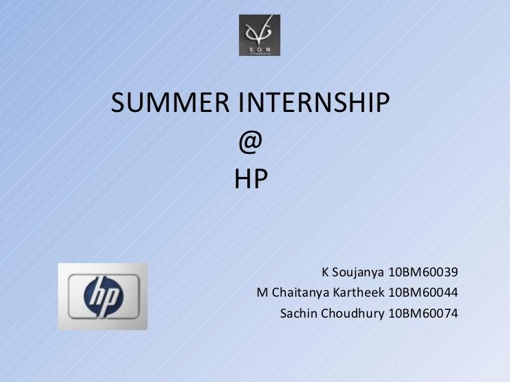 Summer internship presentation @ hp