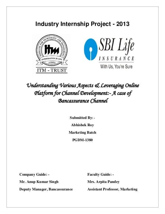 Industry Internship Project - 2013  Understanding Various Aspects & Leveraging Online Platform for Channel Development:- A...