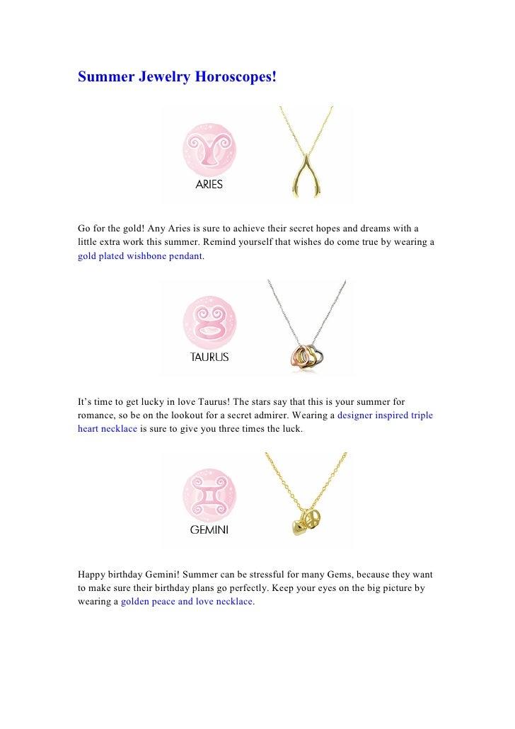 Summer Jewelry Horoscopes
