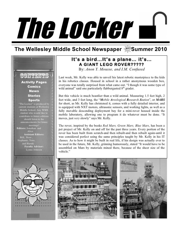 The Locker The Wellesley Middle School Newspaper                                                      Summer 2010         ...