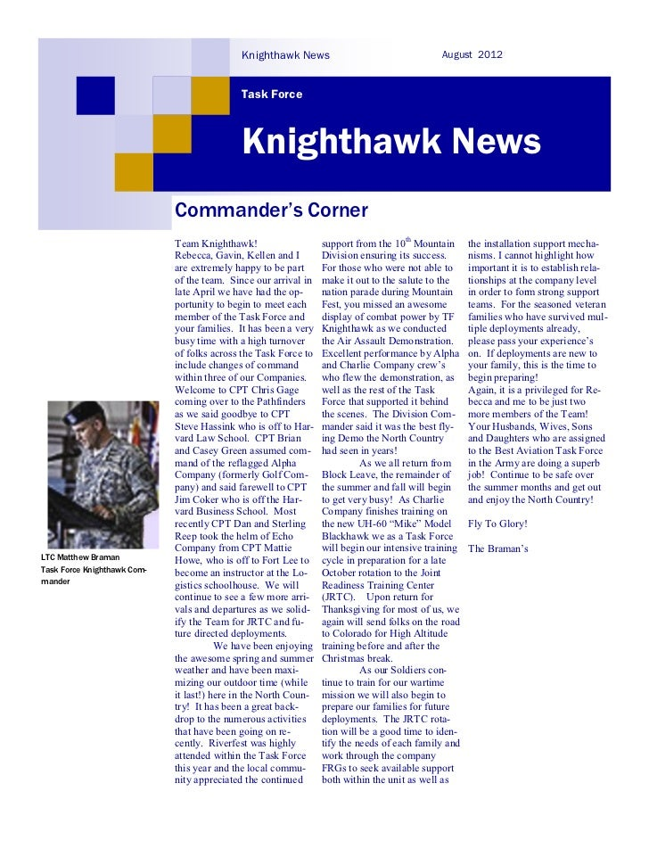 Knighthawk News                                  August 2012                                            Task Force        ...