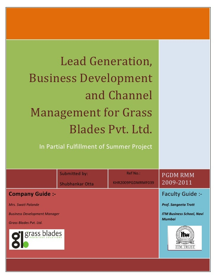 Lead Generation,              Business Development                        and Channel              Management for Grass   ...