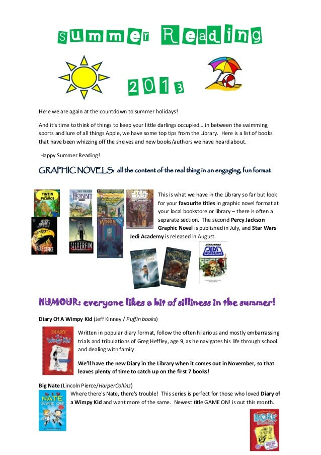 Summer Reading2013Here we are again at the countdown to summer holidays!And it's time to think of things to keep your litt...