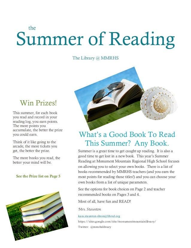 Summer reading newsletter