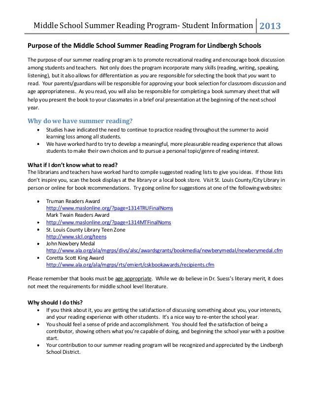 Middle School Summer Reading Program Information