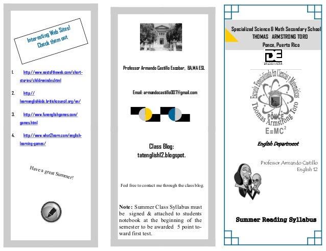 Class Blog:tatenglish12.blogspot.Email: armandocastillo007@gmail.com1. http://www.eastoftheweb.com/short-stories/childreni...
