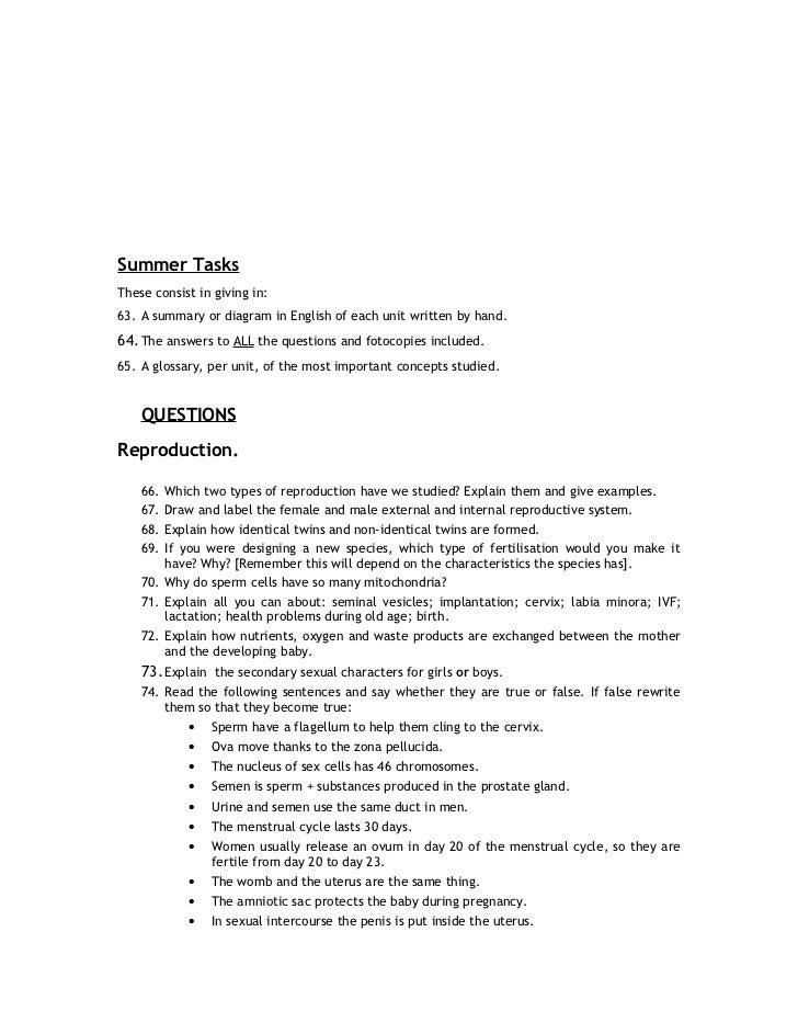 Summer tasks 3rd eso b i g