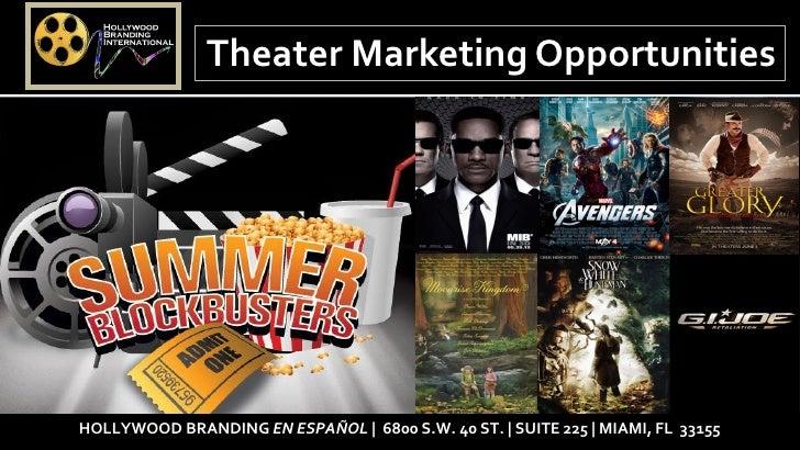 Theater Marketing OpportunitiesHOLLYWOOD BRANDING EN ESPAÑOL   6800 S.W. 40 ST.   SUITE 225   MIAMI, FL 33155