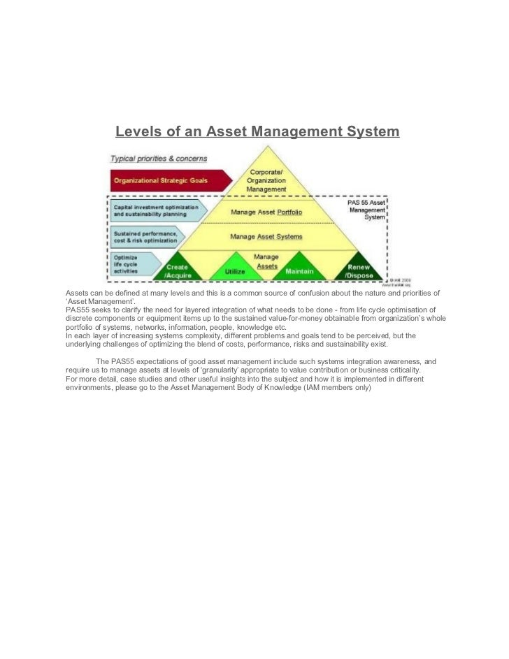 Levels of an Asset Management SystemAssets can be defined at many levels and this is a common source of confusion about th...