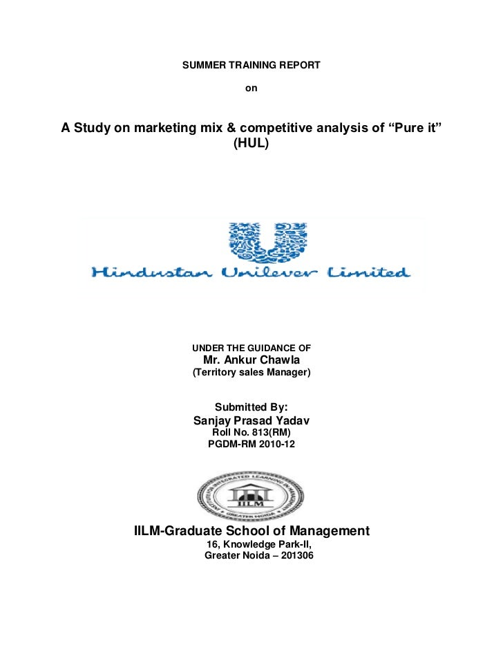 """SUMMER TRAINING REPORT                               onA Study on marketing mix & competitive analysis of """"Pure it""""       ..."""
