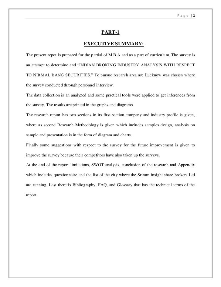 Page |1                                            PART-1                                 EXECUTIVE SUMMARY:The present re...
