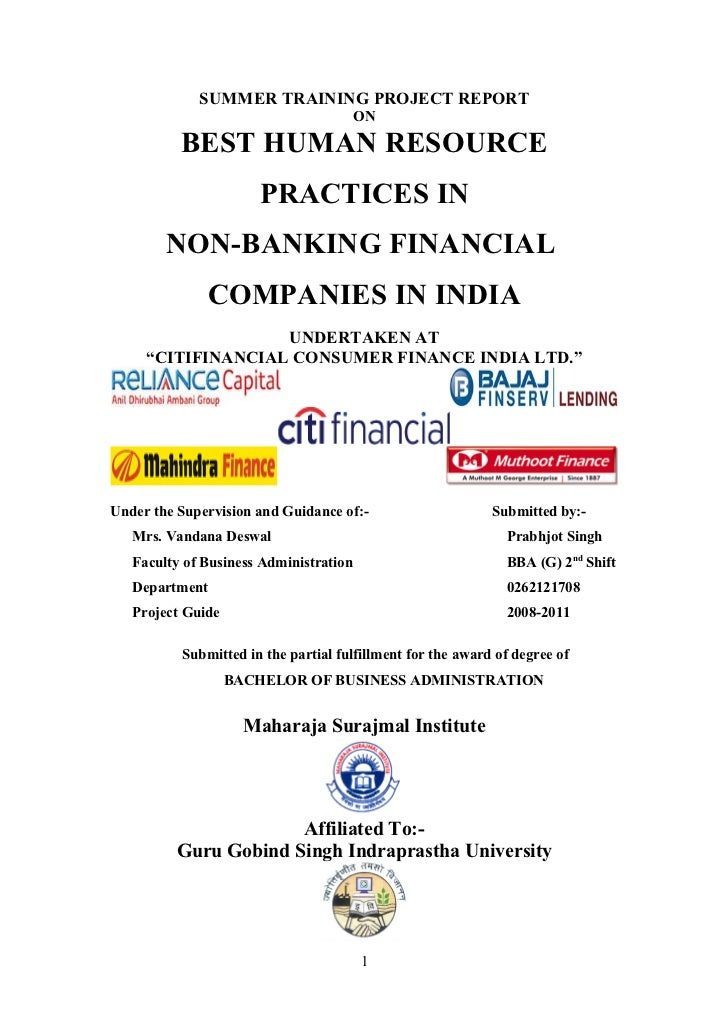 Best Human Resource Practices In Non Banking Financial Companies In India