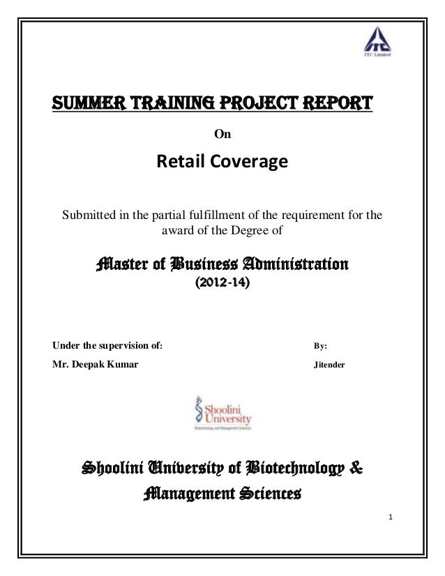 1 Summer Training Project Report On Retail Coverage Submitted in the partial fulfillment of the requirement for the award ...