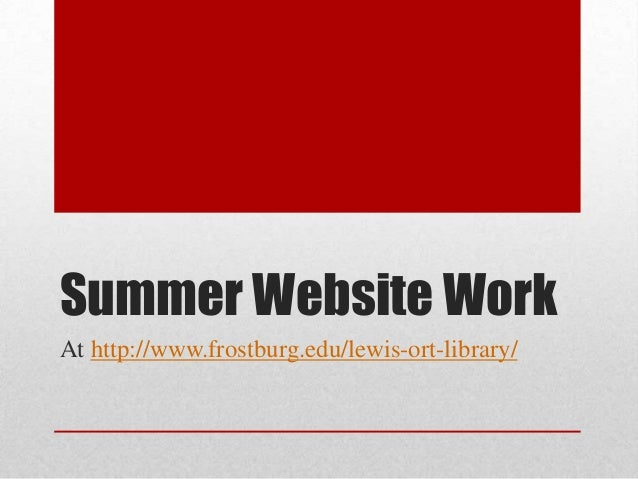 Summer website work
