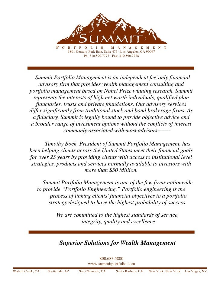 Introduction to Summit Portfolio Management