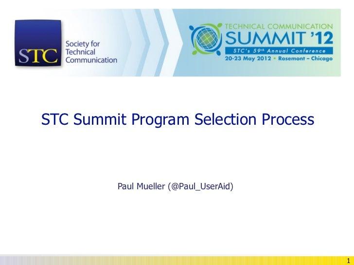 STC Summit Program Selection