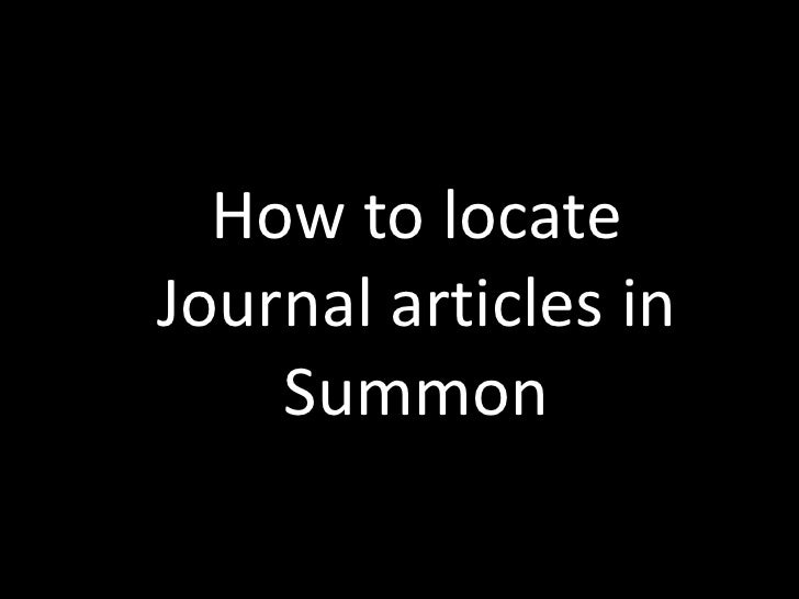 Finding Articles with Summon