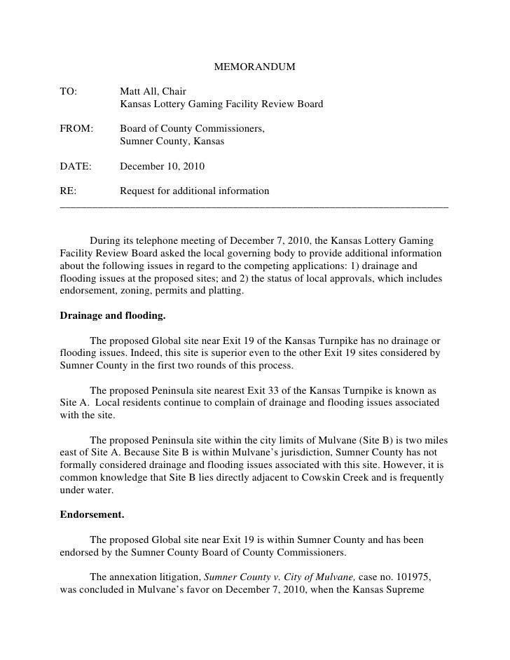 MEMORANDUMTO:           Matt All, Chair              Kansas Lottery Gaming Facility Review BoardFROM:         Board of Cou...