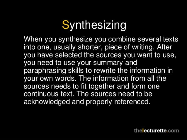 Synthesize - definition of synthesize by The Free Dictionary
