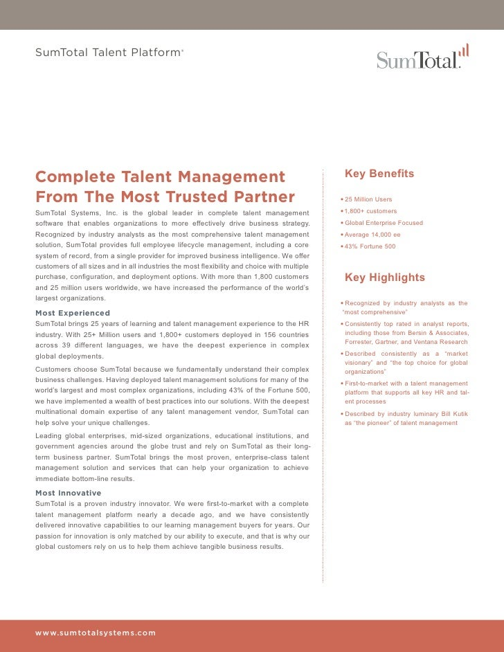 SumTotal Talent Platform®Complete Talent Management                                                                    Key...