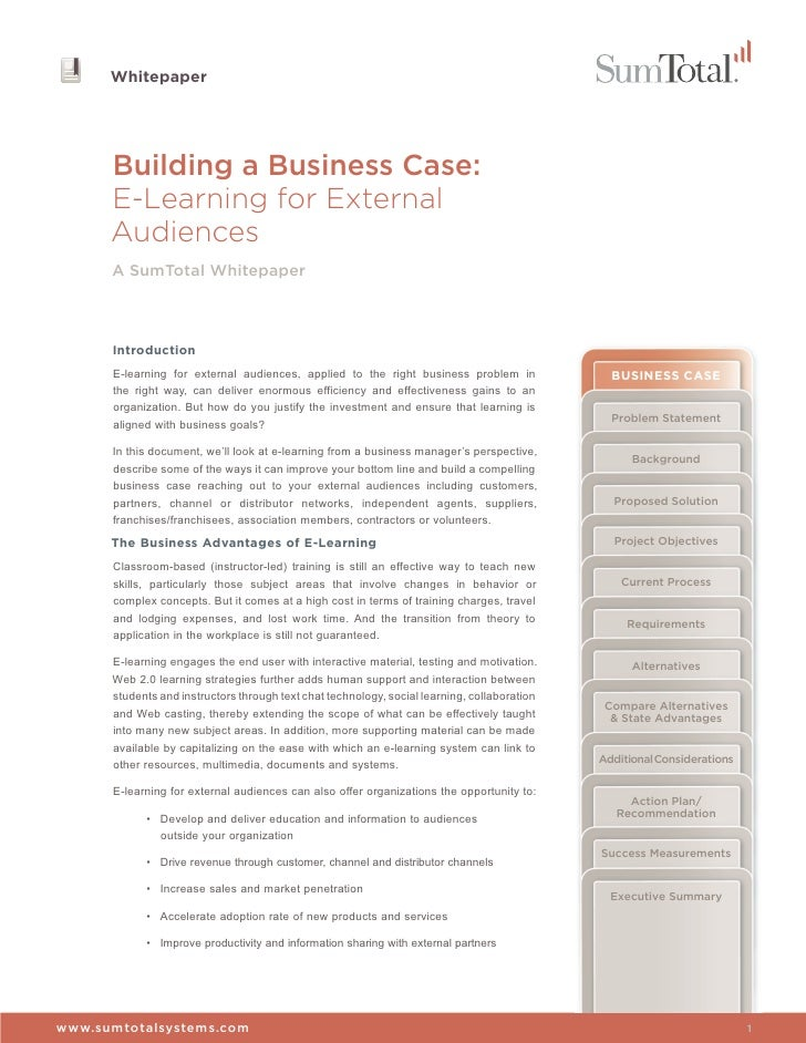 Building a Business Case, e-Learning for External Audiences