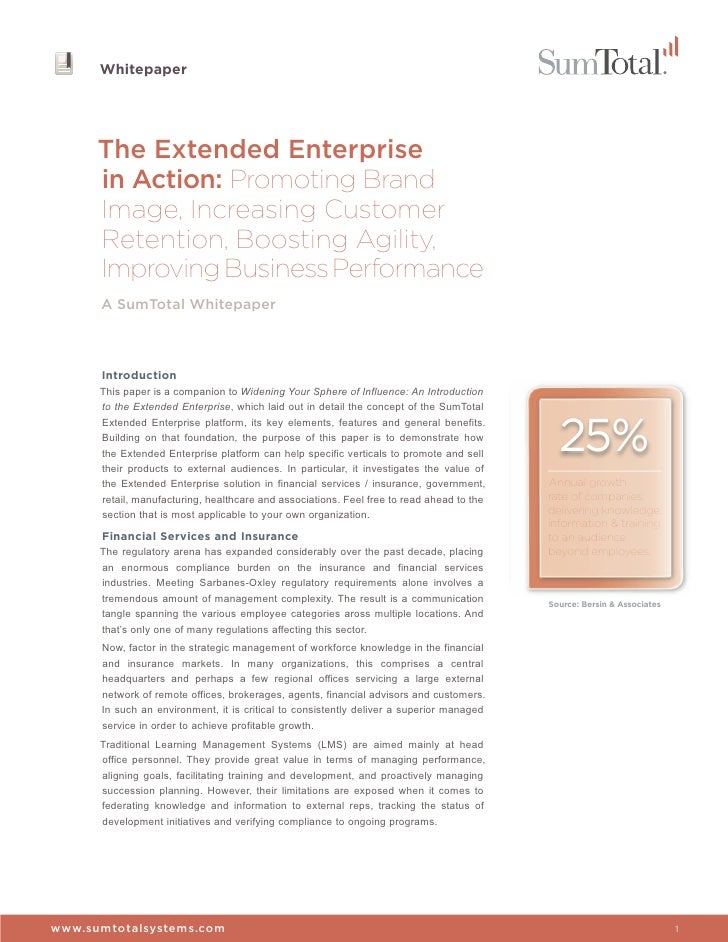 The Extended Enterprise in Action: Promoting Brand Image, Increasing Customer Retention, Boosting Agility & Improving Business Performance