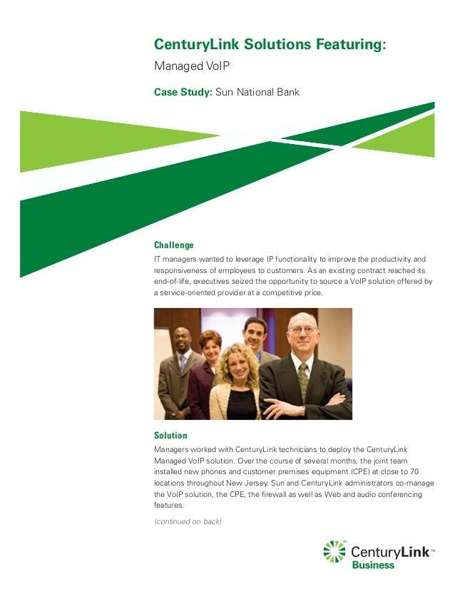 CenturyLink Managed VoIP Case Study featuring Sun National Bank