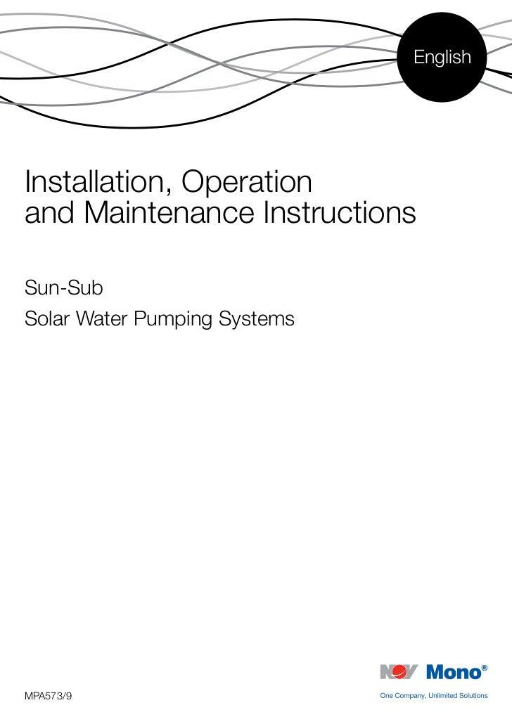 EnglishInstallation, Operationand Maintenance InstructionsSun-SubSolar Water Pumping SystemsMPA573/9