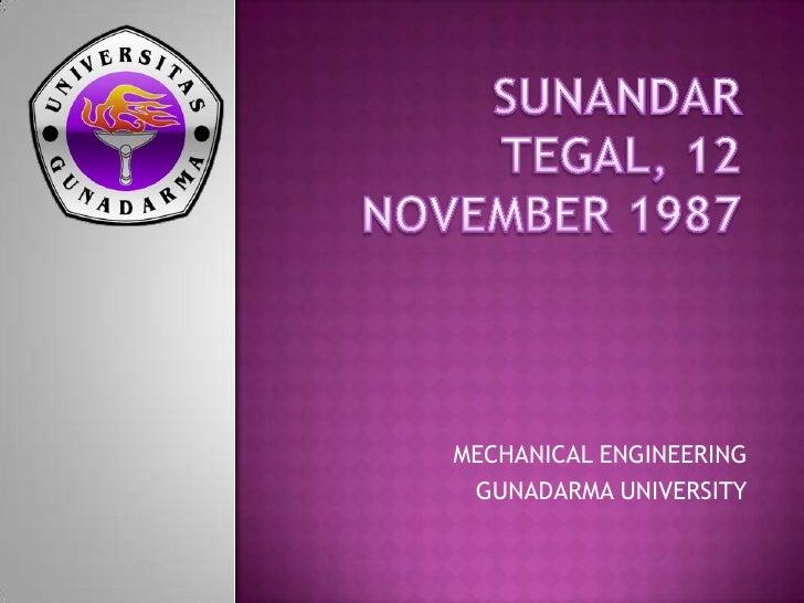 MECHANICAL ENGINEERING GUNADARMA UNIVERSITY
