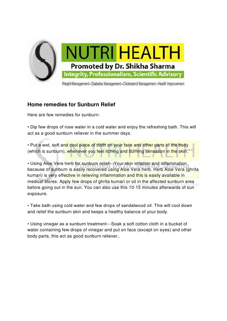 Home remedies for Sunburn Relief