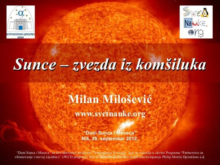 Sunce – zvezda iz komšiluka                                   Milan Milošević                                       www.sv...