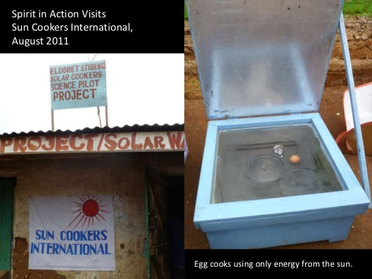 Spirit in Action Visits Sun Cookers International,  August 2011<br />Egg cooks using only energy from the sun. <br />