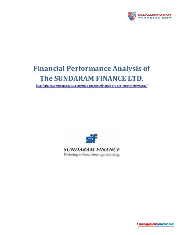 financial performance analysis project report for mba pdf