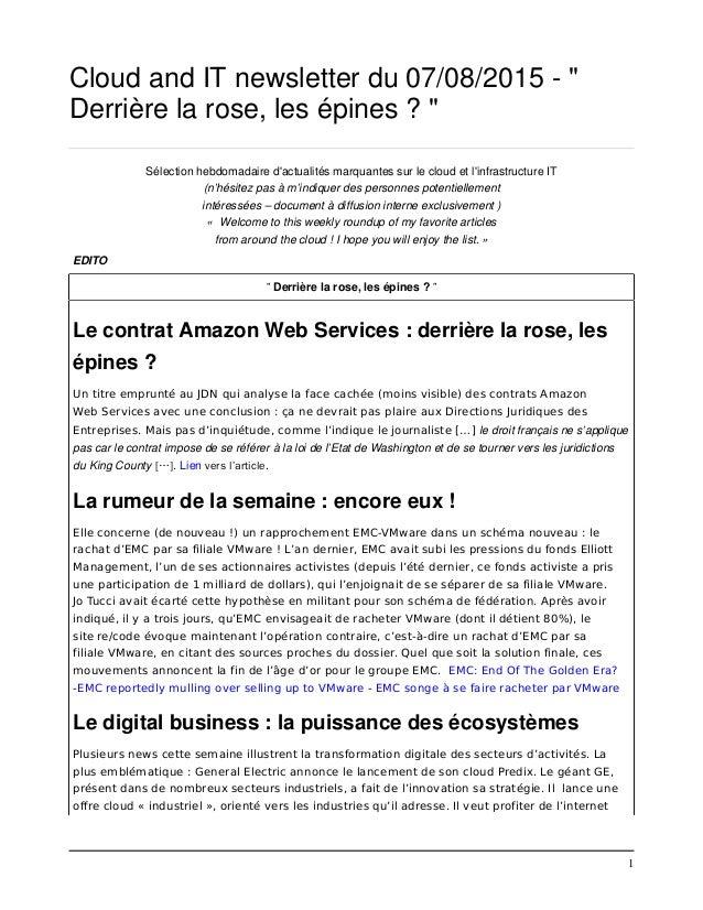 """1 Cloud and IT newsletter du 07/08/2015 - """" Derrière la rose, les épines ? """" Sélection hebdomadaire d'actualités marquante..."""