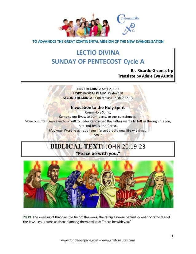 Lectio Divina for Sunday of Pentecost Cycle A