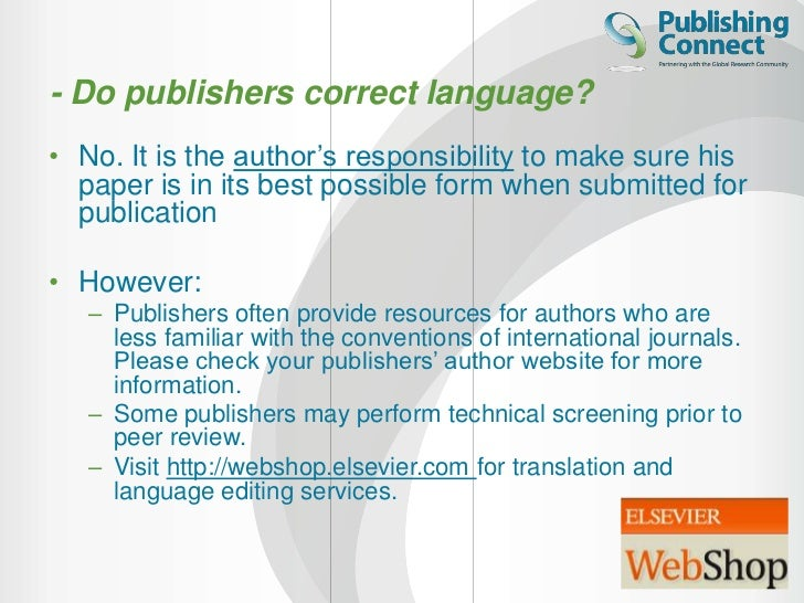 Elsevier editing service
