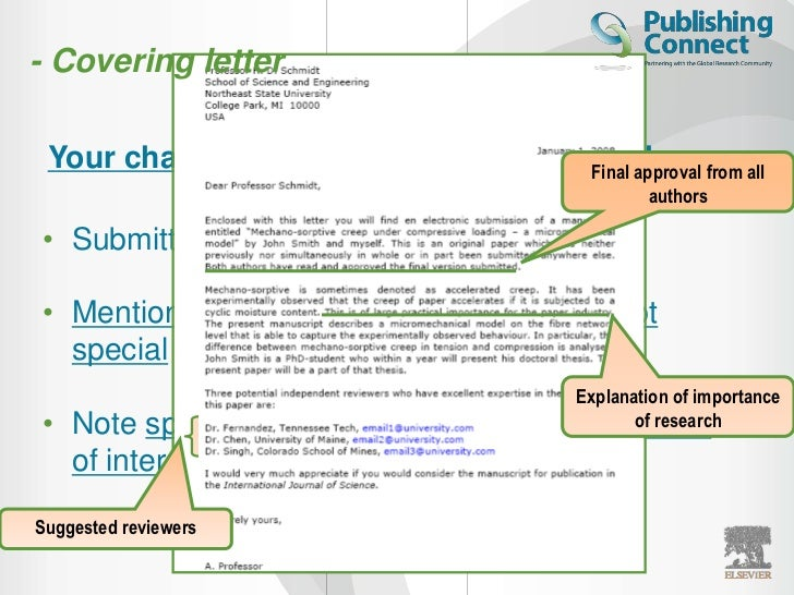 Cover letter elsevier journal