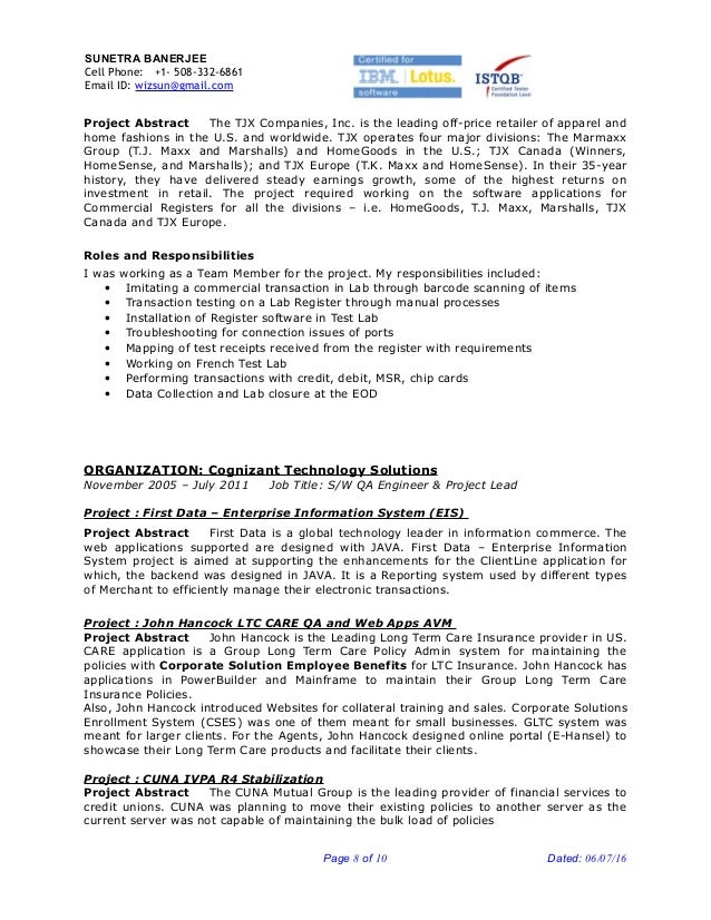 Resume of project lead