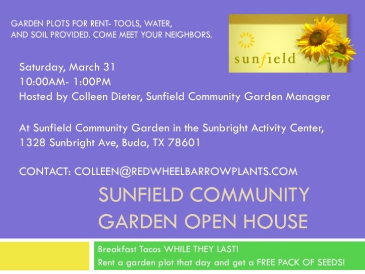 Sunfield Communtiy Garden Open House: March 31, 2012
