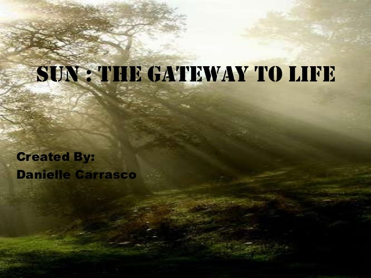 Sun : the Gateway to Life<br />Created By: <br />Danielle Carrasco<br />