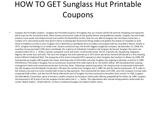 image relating to Sunglass Hut Printable Coupon identified as Sungl Hut Coupon Code La Confédération Nationale du